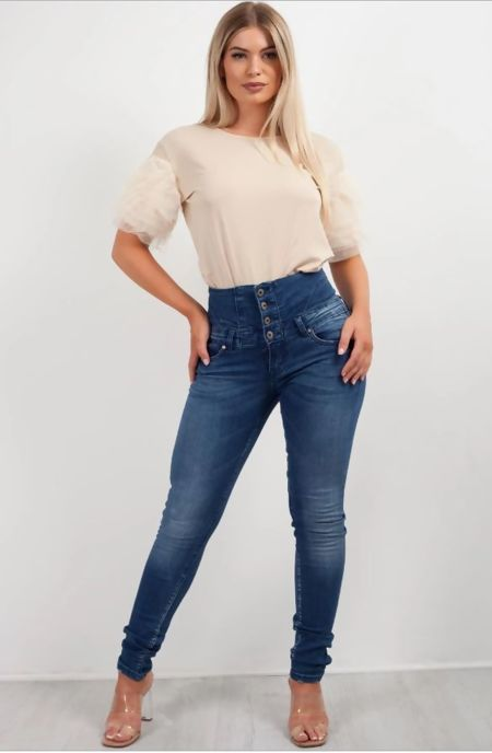 High Waist Four Button Skinny Fit Jeans