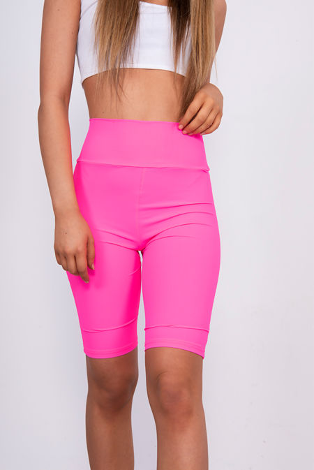Hot Pink Ribbed Slinky High Waisted Cycling Shorts