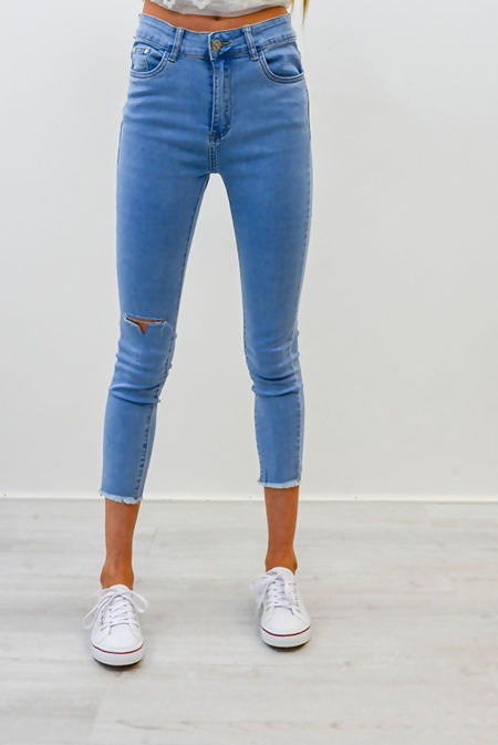Ice Denim Knee Ripped High Waist Skinny Fit Jeans