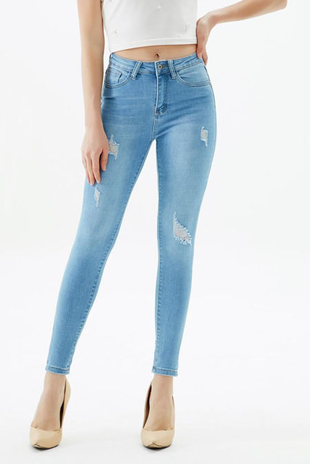 Icy Blue Extreme Distressed Skinny Fit Jeans