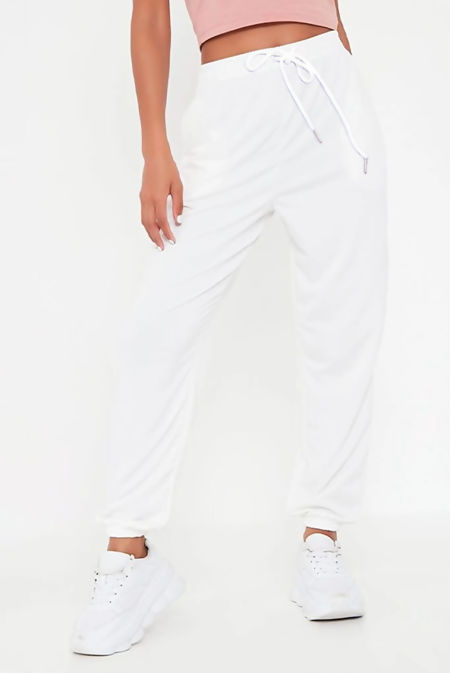 Ivory High Waist Loopback Jogger