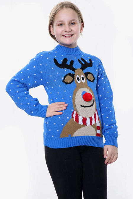 Blue Kids Pom Rudolph Christmas Jumper
