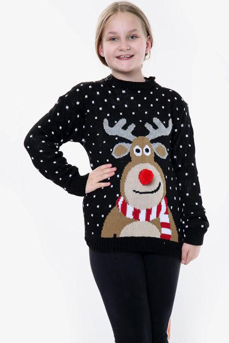 Black Kids Pom Rudolph Christmas Jumper