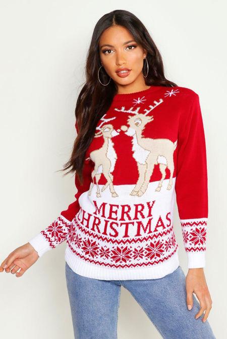 Red Two Reindeers Merry Christmas Jumper