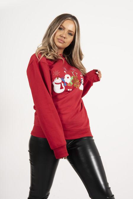 Red Novelty Celebration Christmas Sweatshirt