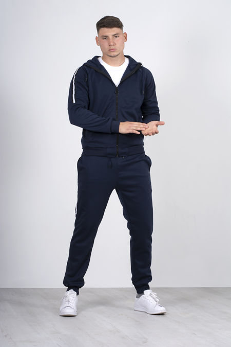 Navy Zip Through Skinny Tracksuit With Side Stripe
