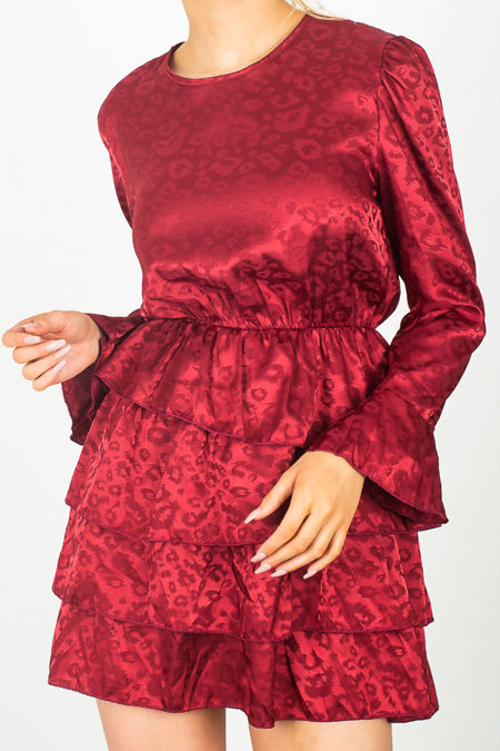 Jacquard Flounce Dress