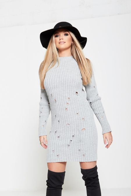 Grey Distressed Knitted Dress