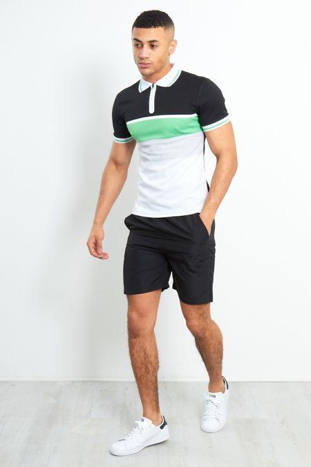 Colourblock Polo Zipper Shirt And Shorts Set