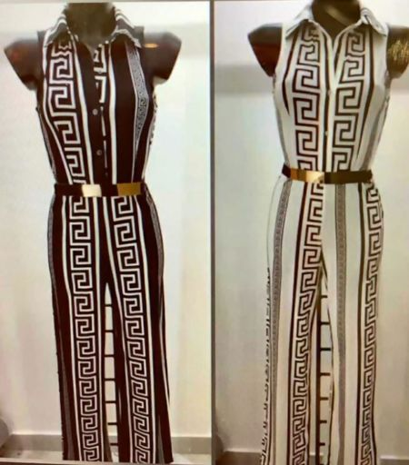 Black Gucci Print Collared Gold Belted Jumpsuit