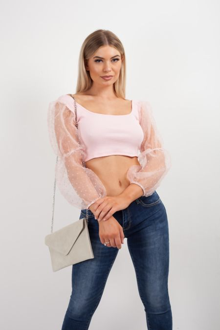 Jasmine Mesh Puff Crop Top