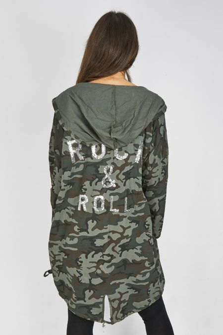 Khaki Camo Sequin Rock N Roll Hooded Cardigan