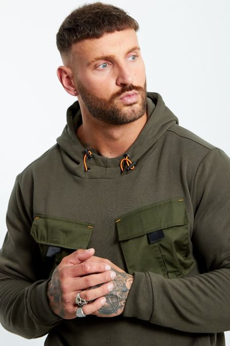 Khaki Cargo Pocket Front Pull Over Hooded Jumper