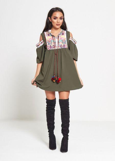 Khaki Cold Shoulder Embroidered Tassel Mini Dress