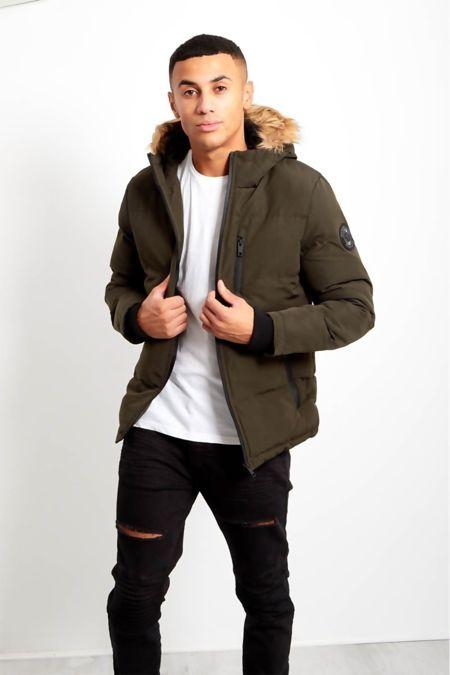 Khaki Contrast Faux Fur Hood Trim Padded Jacket