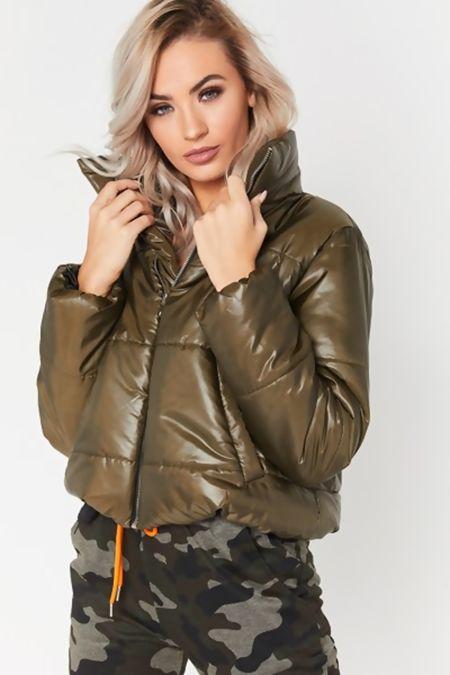Khaki Cropped High Neck Puffer Jacket