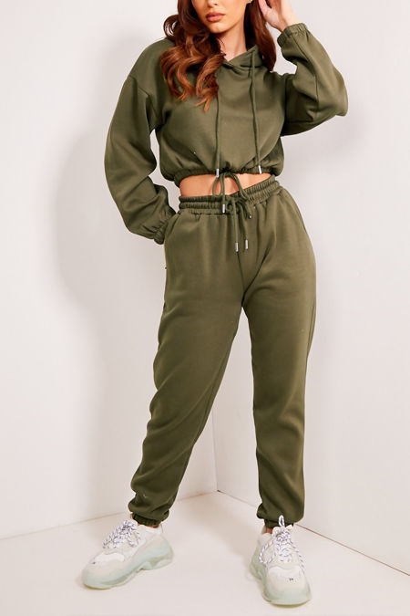 Khaki Drawstring Cropped Hoodie And Joggers Tracksuit