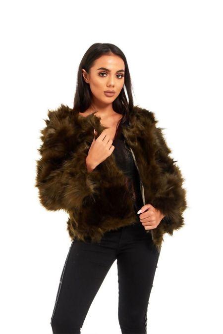 Khaki Faux Fur Cropped Jacket