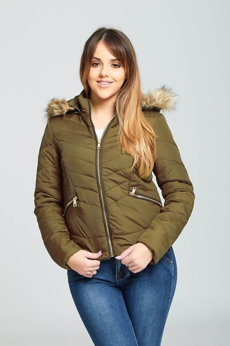 Khaki Faux Fur Trim Detail Hooded Puffer Jacket