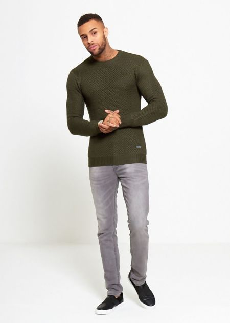 Khaki Fisherman Knitted Jumper