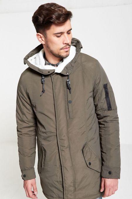 Khaki Fur Hood Lined Zip Detail Parka