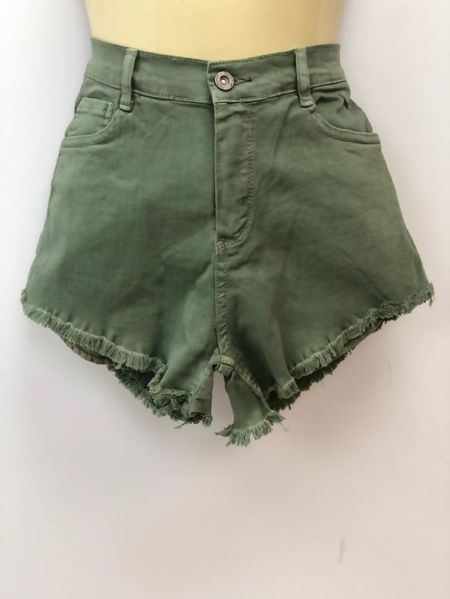 Khaki High Waist Frayed Hem Denim Shorts