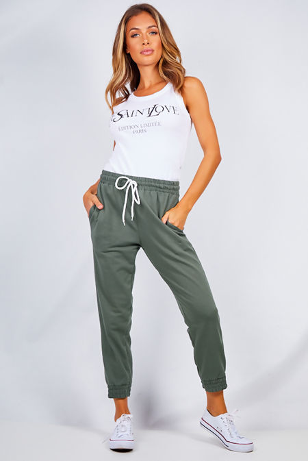 Khaki High Waist Loopback Jogger