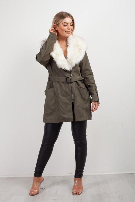 Khaki Leather Faux Trim Jacket