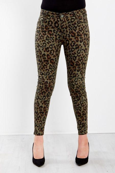 Khaki Leopard Print High Waist Skinny Jeans