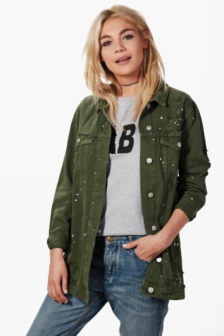 Khaki Longline Paint Splatter Denim Jacket