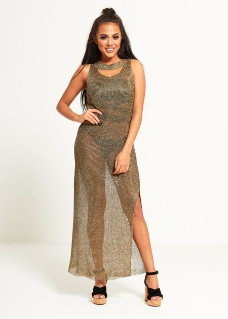 Khaki Metallic Knit Cut Out Detail Maxi Dress
