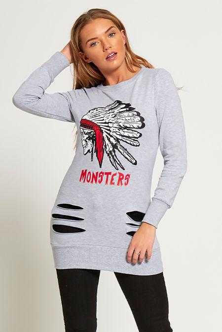 Khaki Monsters Ripped Longline Sweatshirt