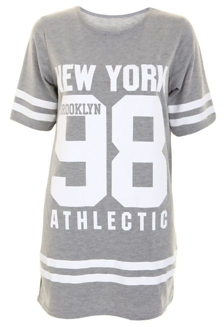 Plus Size Grey New York 98 Oversize T-Shirt