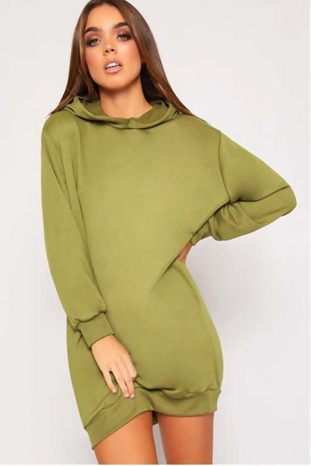 Khaki Oversized Baggy Pocket Sweat Hood Dress