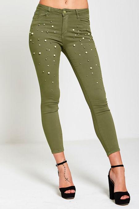 Khaki Pearl Embellished Skinny Fit Jeans