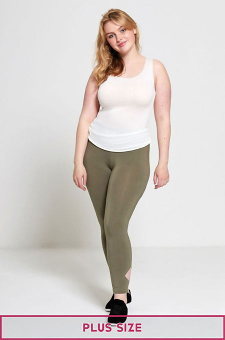Khaki Plus Size Laser Cut Leggings