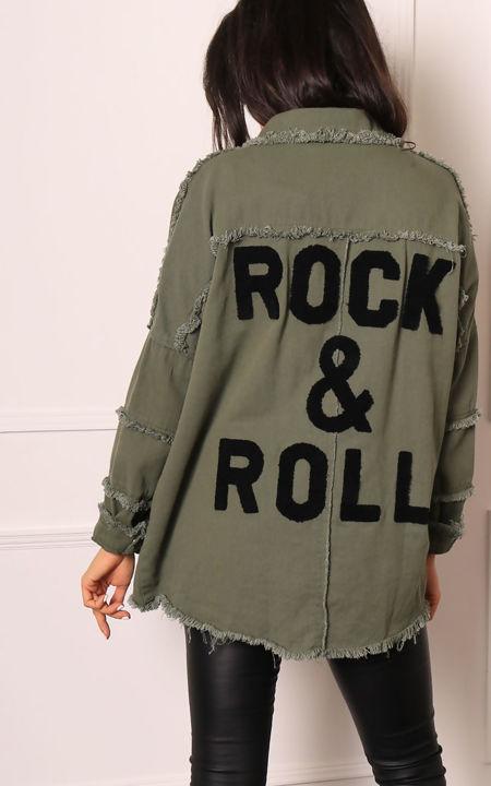 Khaki Rock and Roll Denim Jacket