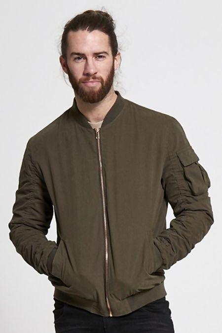 Khaki Ruched Sleeve Bomber Jacket