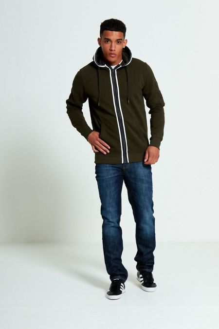 Khaki Stripe Slash Pocket Hoodie