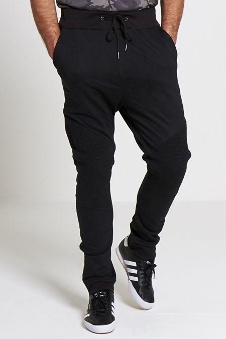 Black  Stylish Knee Ribbed Trousers-