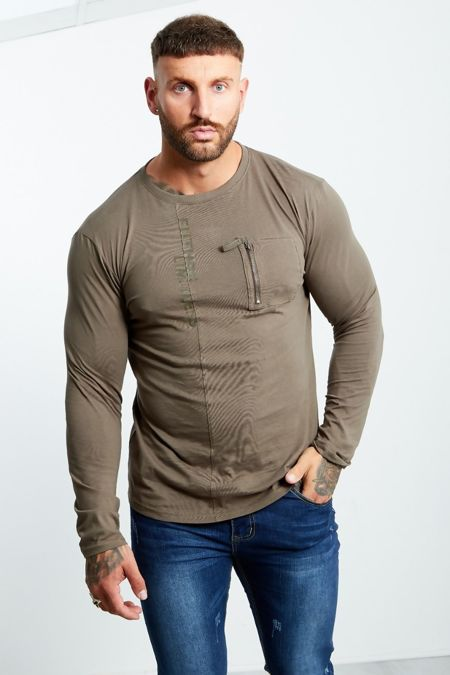 Khaki Zip Pocket Front Long Sleeve T-shirt