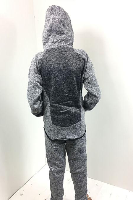 Kids Grey Monochrome Panel Hood Tracksuit