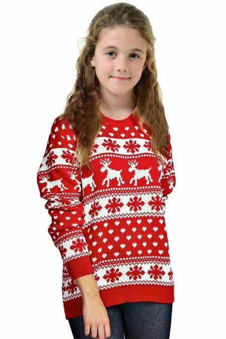 Kids Red Snowflake and Reindeer Christmas Jumper