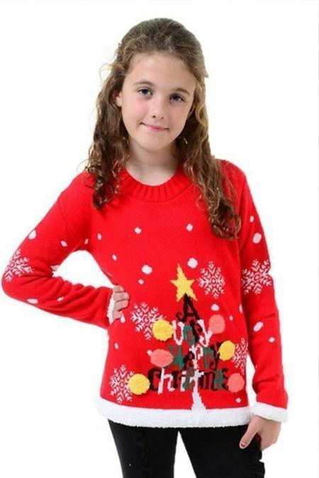 Kids Red Tree Pom Pom Christmas Jumper