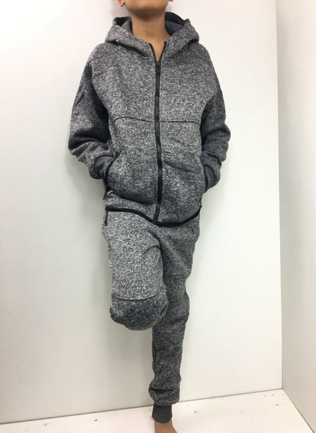 Kids Zip Through Charcoal Monochrome Hooded Tracksuit
