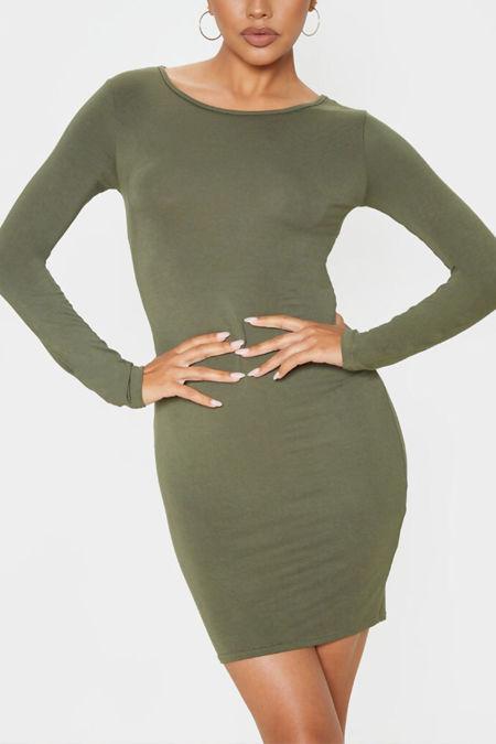Khaki Basic Jersey Long Sleeve Bodycon Dress