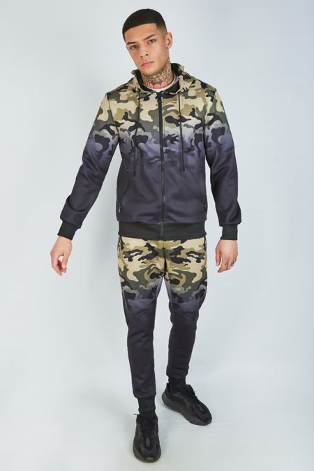 Khaki Camo Skinny Fit Hooded Tracksuit