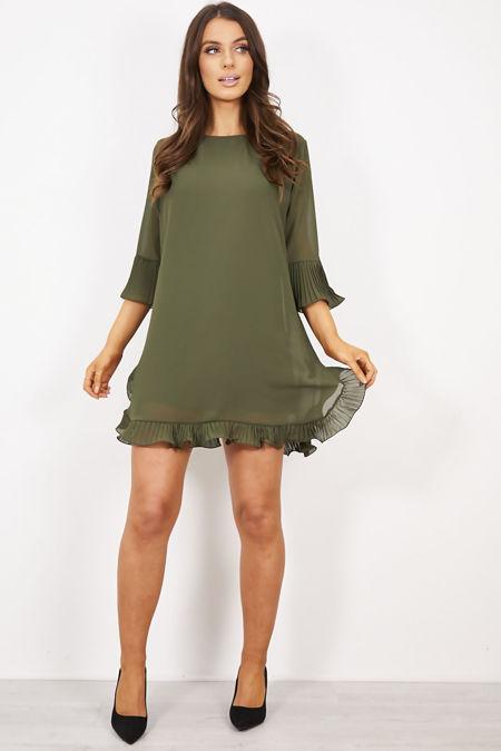 Khaki Pleated Frill Swing Dress