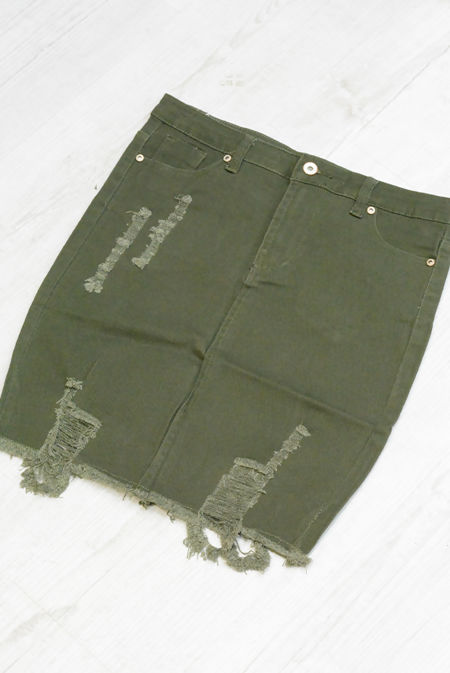 Khaki Pocket Distressed Denim Skirt