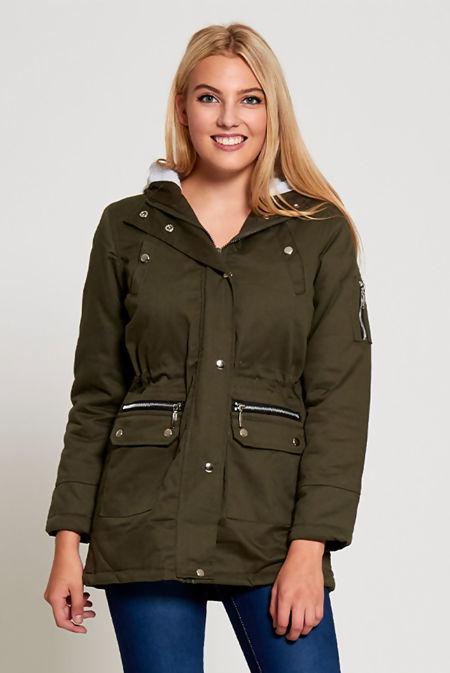 Plus Size Khaki Zip Detail Parka With Faux Fur Hood